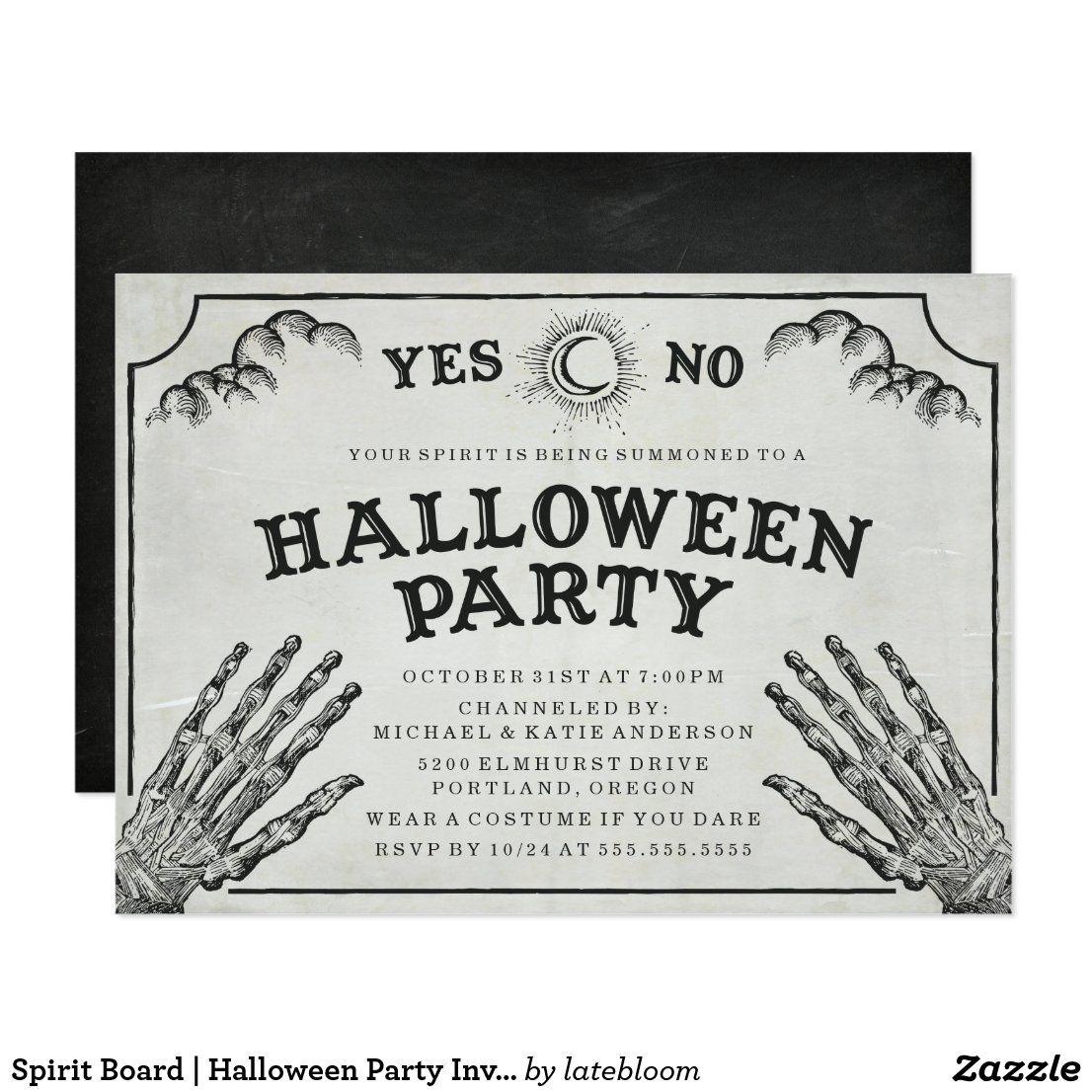 Spirit board halloween party invitation in