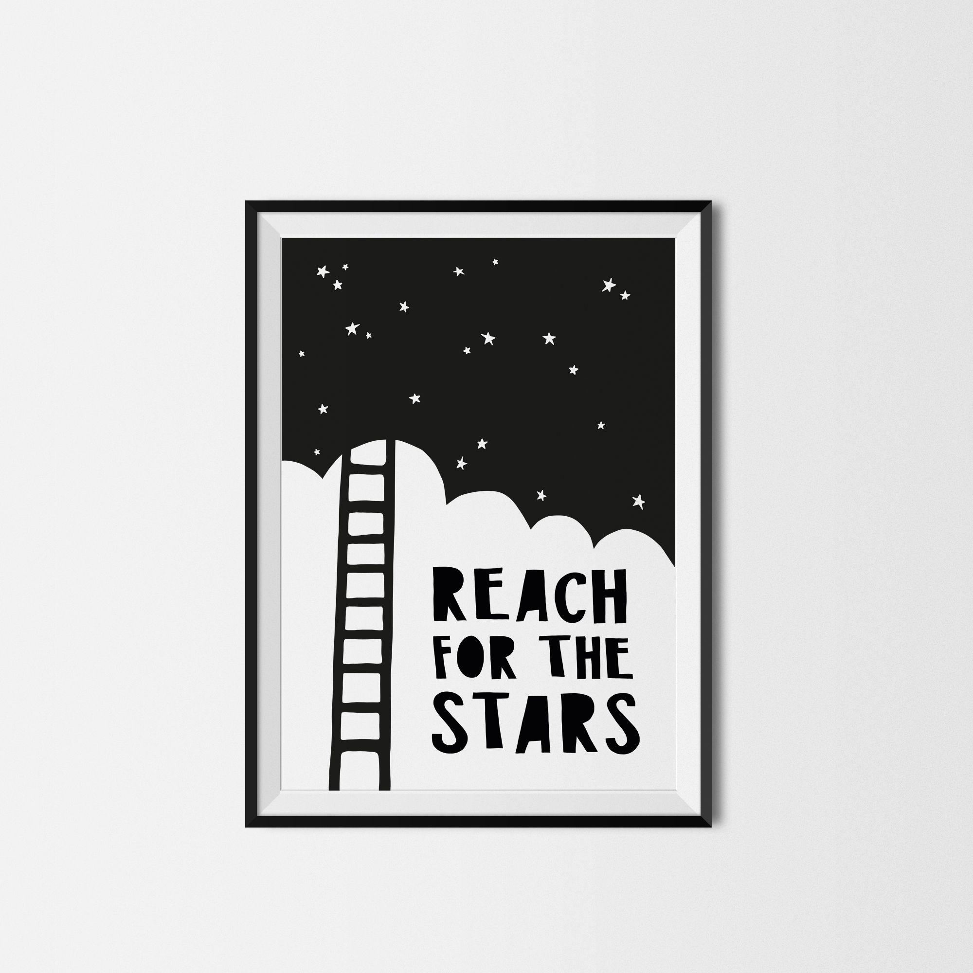 Reach For The Stars Printed Poster Kids Wall Art Decor Monochrome Print Black White Modern Typography Kids P Kids Prints Art Wall Kids Kids Art Wall Decor