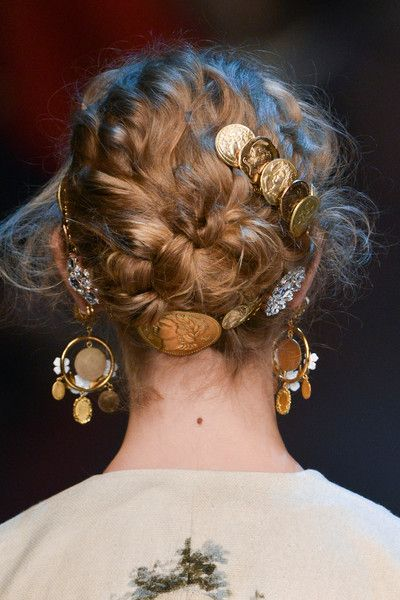 Dolce & Gabbana Spring 2014 RTW - Hair styling wrapped braids with floral and gold coins.