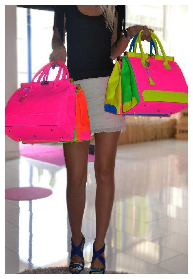 Neon Colorblock Purses Handbags Sama Feldbach