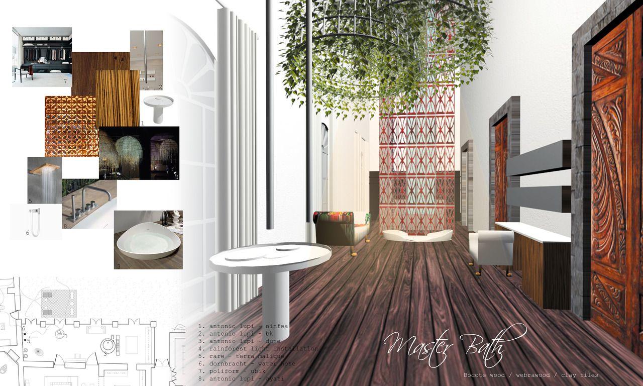interior design presentation board for a bathroom that makes you