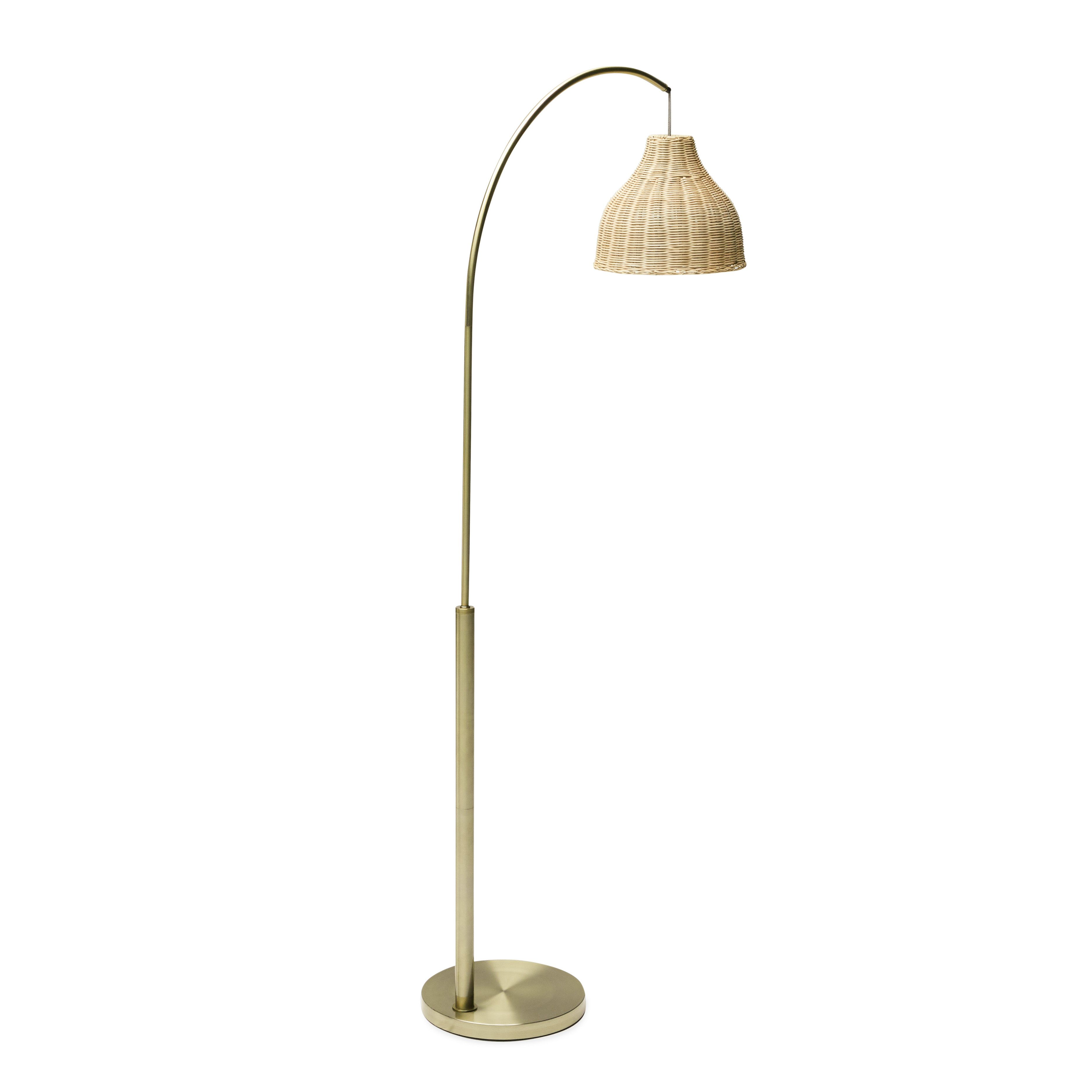 Home Arched floor lamp, Rattan shades, Floor lamp