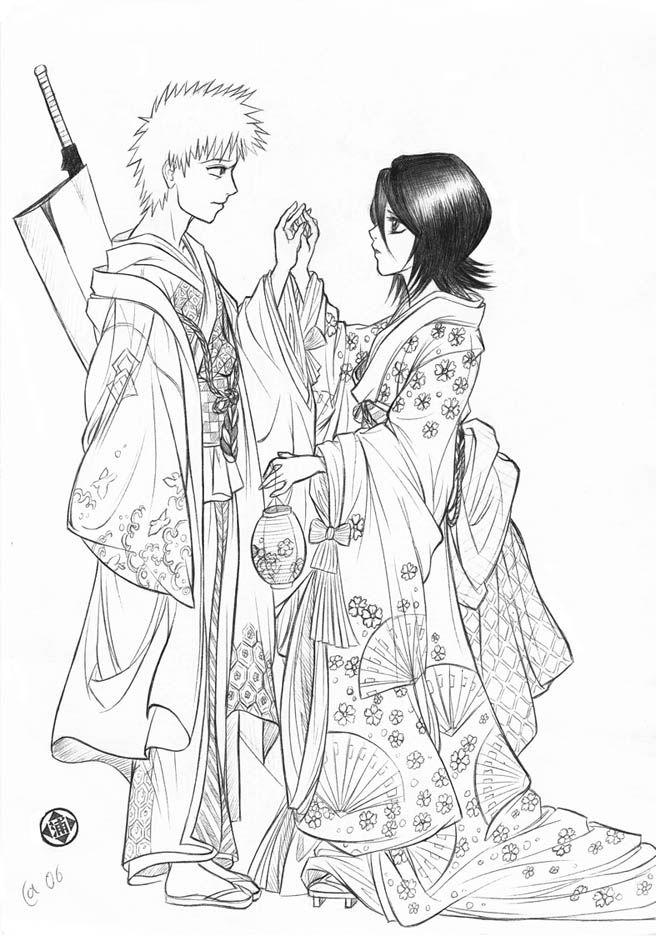 Ichigo X Rukia By Autumn Sacura On Deviantart Bleach Anime Coloring Pages Ichigo X Rukia