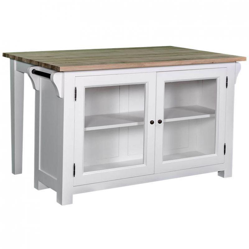 Kücheninsel im Landhausstil, weiße Landhausmöbel, Massivholzmöbel ...