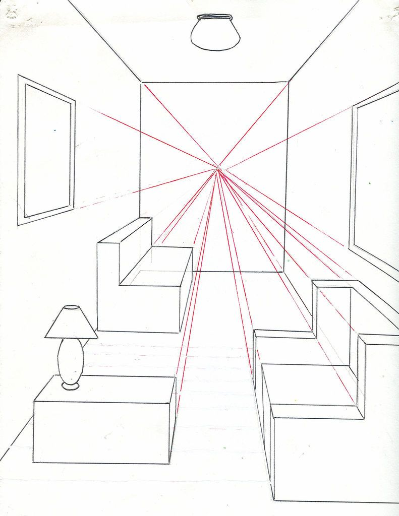 Drawing Lines Meaning : How to draw a room using one point perspective