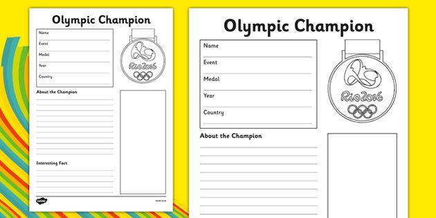 The Olympics Champion Fact File Activity Sheet - the olympics, rio ...