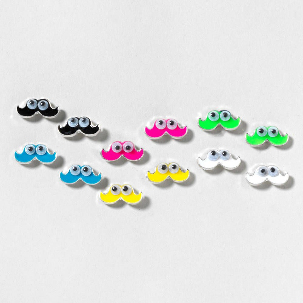 googly eyed mustache stud earrings set of 6 claires