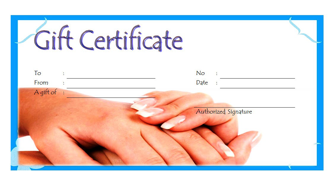 Nail Salon Gift Certificate Template Free Printable 4 Gift Certificate Template Printable Gift Certificate Templates Printable Free