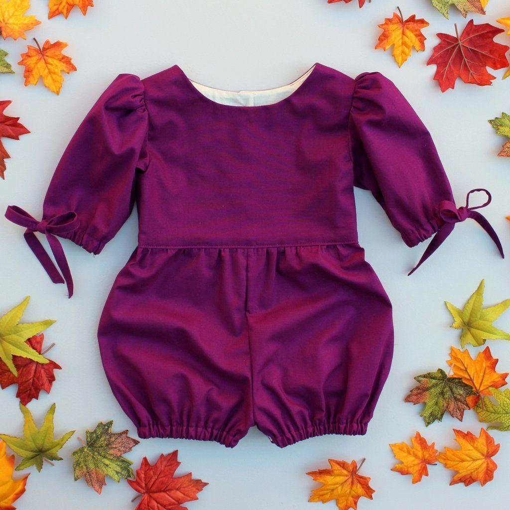 de10d861c9b9 Adeline Romper in Plum for baby toddler little girl long elbow ...