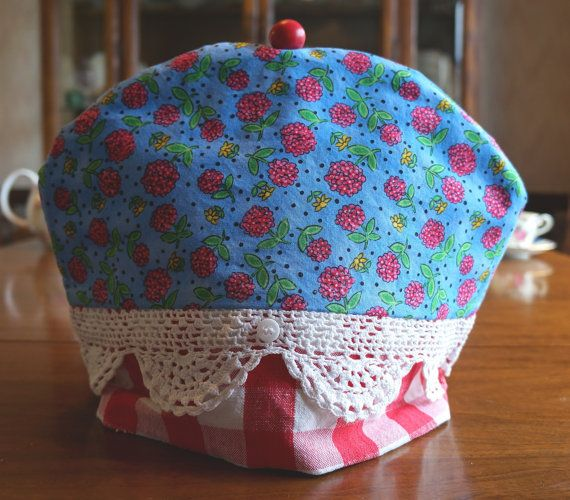 Shabby Chic or Retro Red Raspberry Print Insulating Fabric Tea Cosy / Cozy with Doily Lace Trim and Custom Polymer Clay Bead Pull Top $50.00 CAD