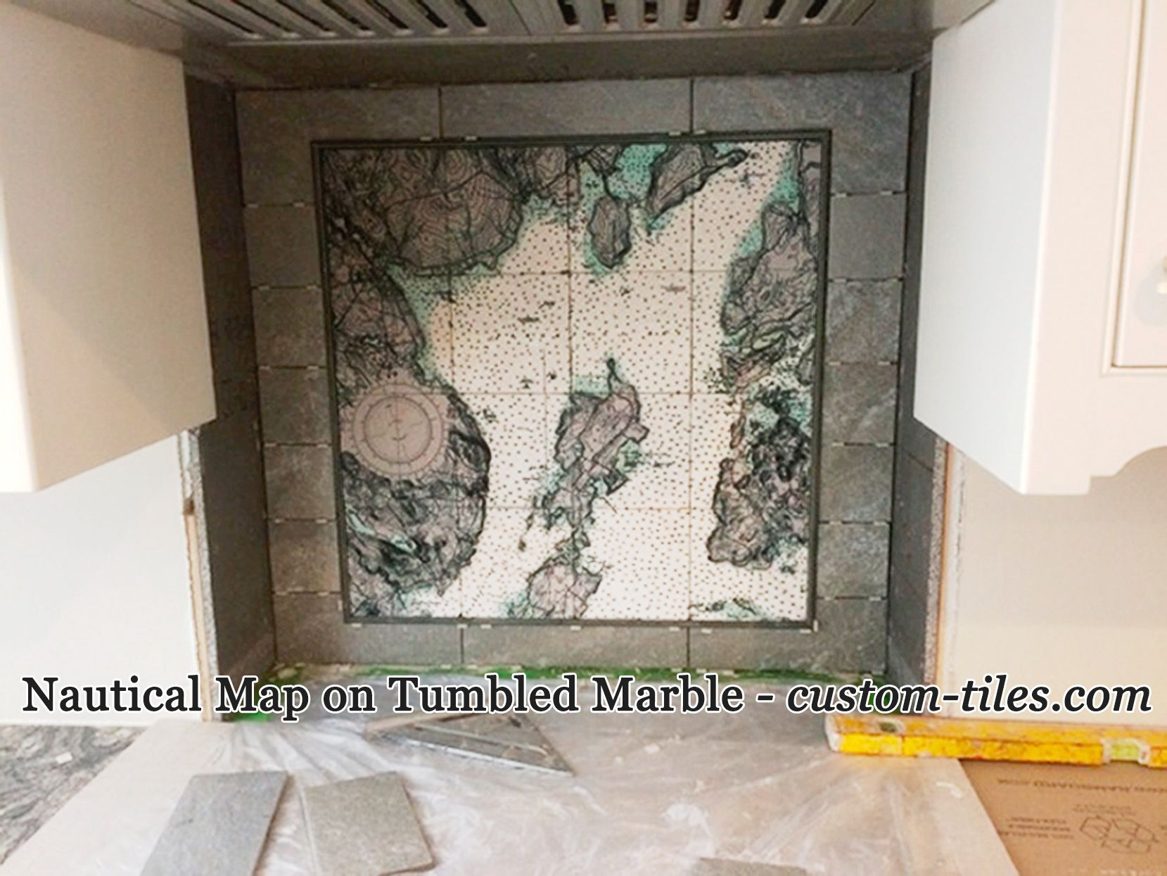 Nautical map on custom printed tile tumbled marble tiles for nautical map on custom printed tile tumbled marble tiles for kitchen backsplash digital tile dailygadgetfo Image collections