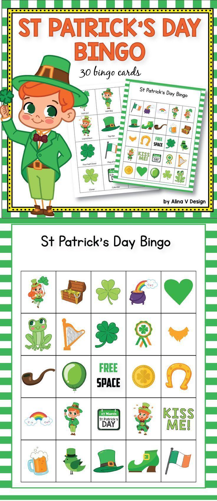 St Patricks Day Bingo Game St Patricks Day Activities