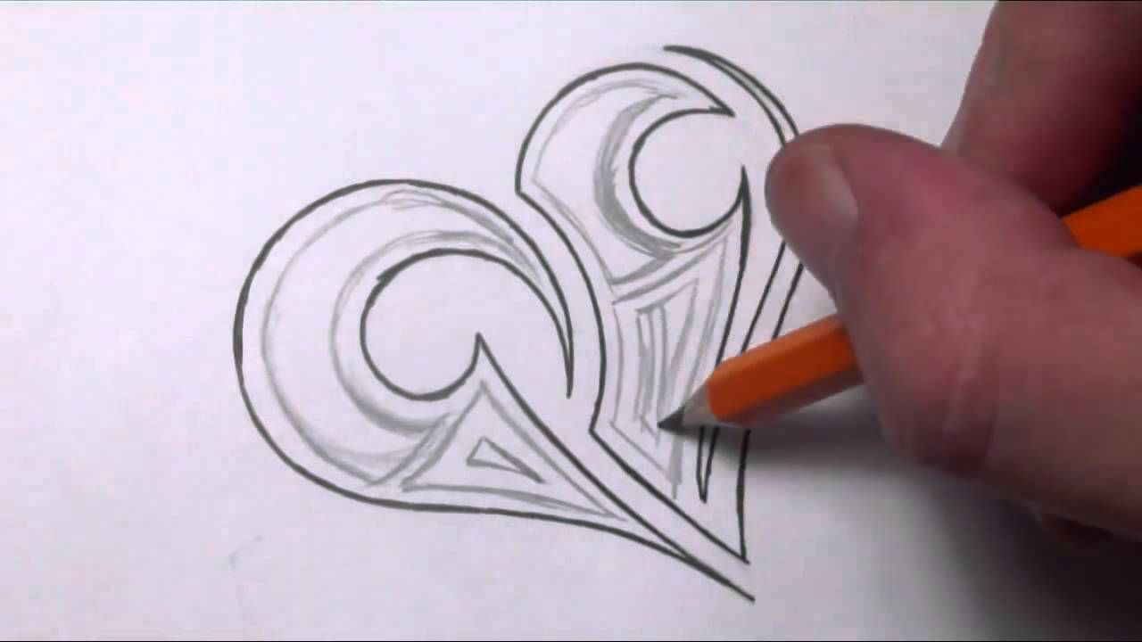 Drawing a Simple Tribal Maori Heart Tattoo Design ...