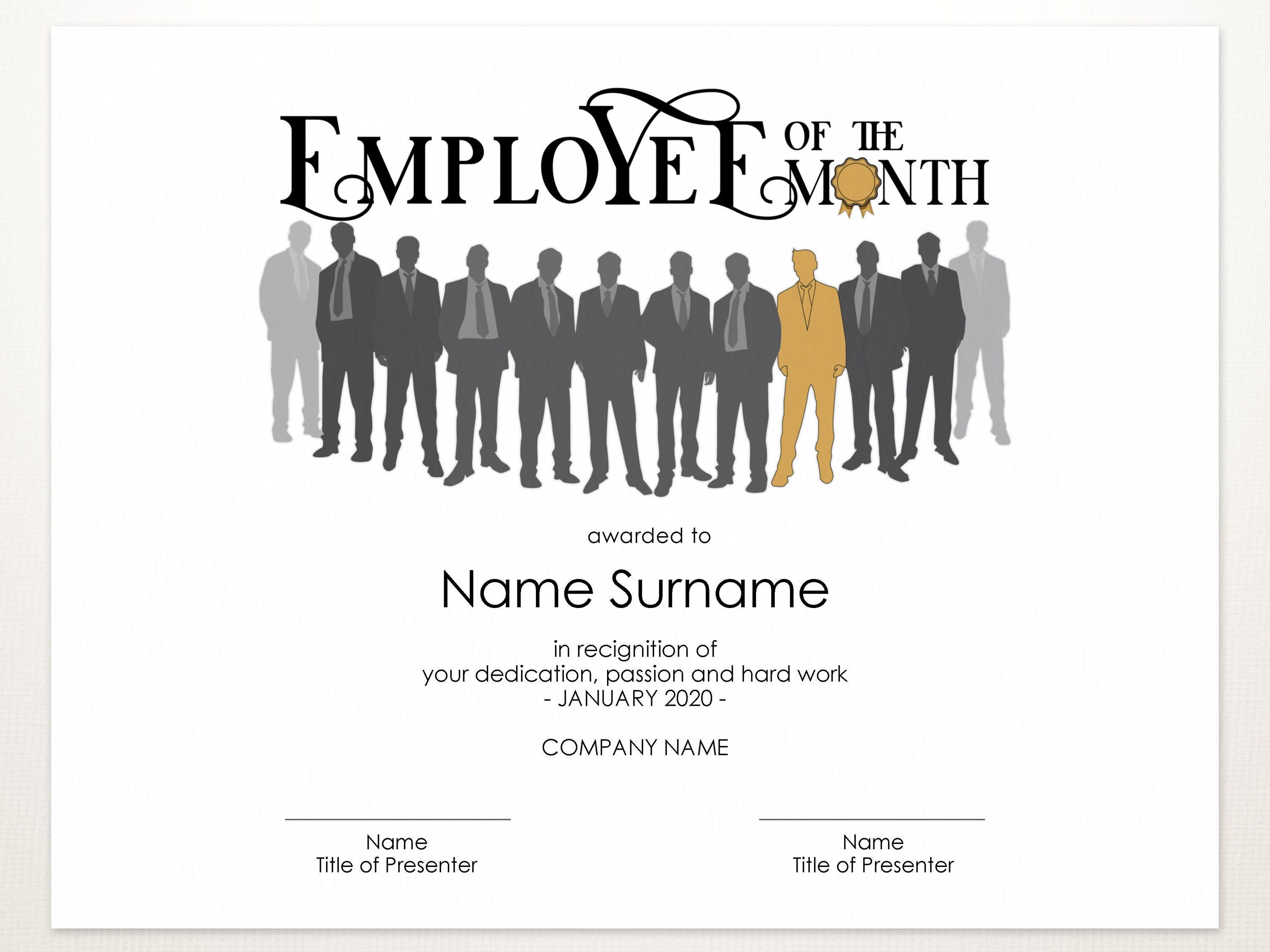 Employee Of The Month Editable Template Printable Award Etsy In 2021 Editable Template Template Printable Certificate Template