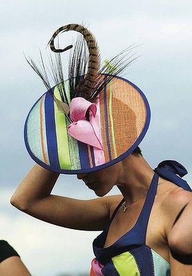 A feather in the cap for the winner of the millinery section of the Fashions on the Field on Oaks Day in 2005.(Spring Racing Carnival) Melbourne Australia