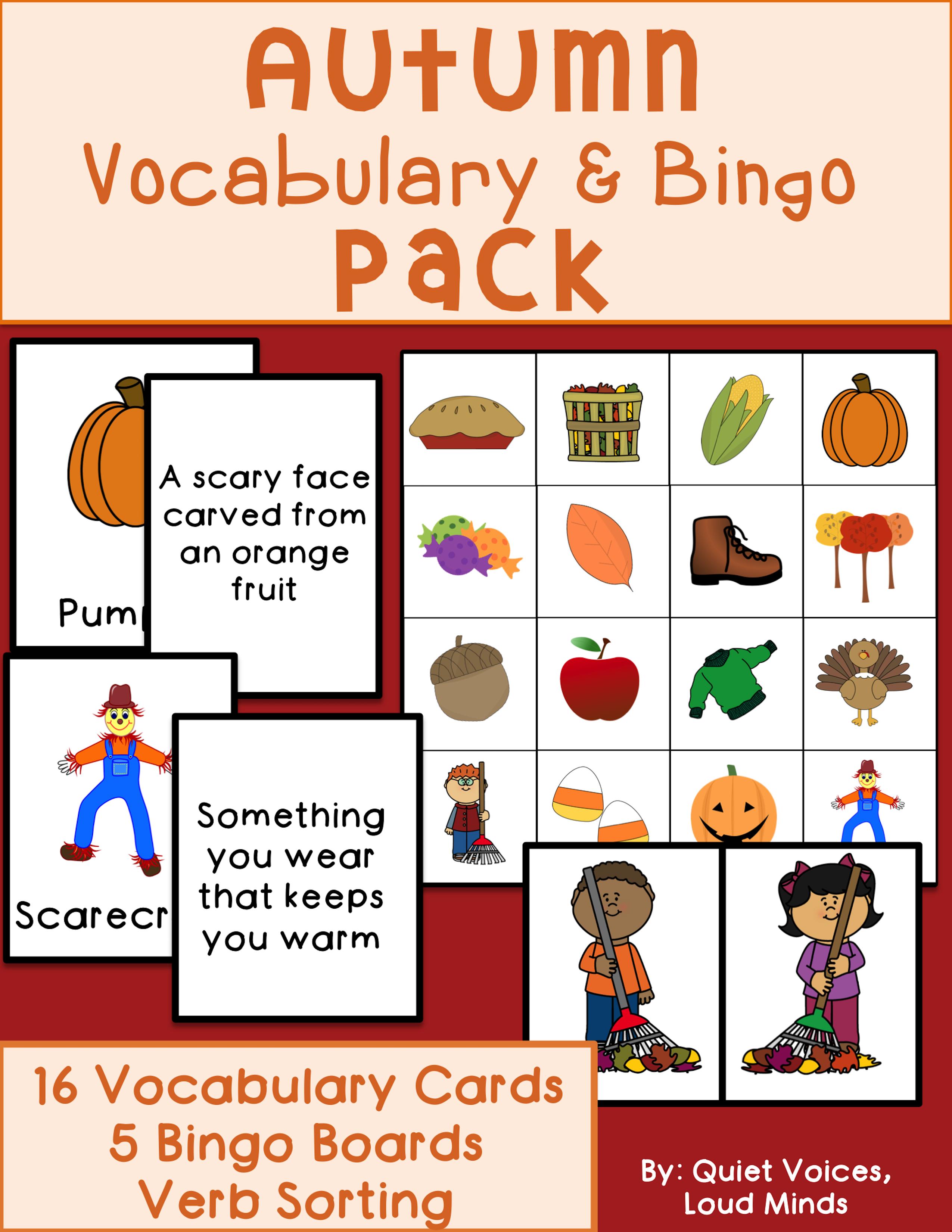 Autumn Vocabulary And Bingo Pack