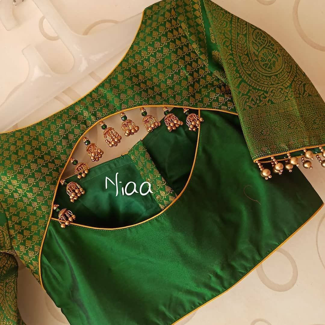 "Label SK on Instagram: ""10 green color embroidered Blouse designs by @niaa_boutique #bridalblouses #handembroidery #blouse #designerblouse #blousedesigns…"""