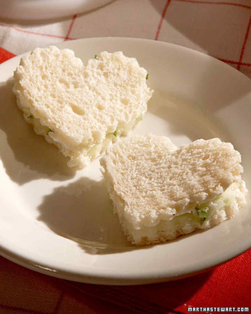 Cucumber-Turkey Mini Sandwiches | Martha Stewart Living - These cucumber-turkey mini sandwiches are so easy, the little ones can even help make them. To make these even more special, use a cookie cutter to stamp them into heart shapes.