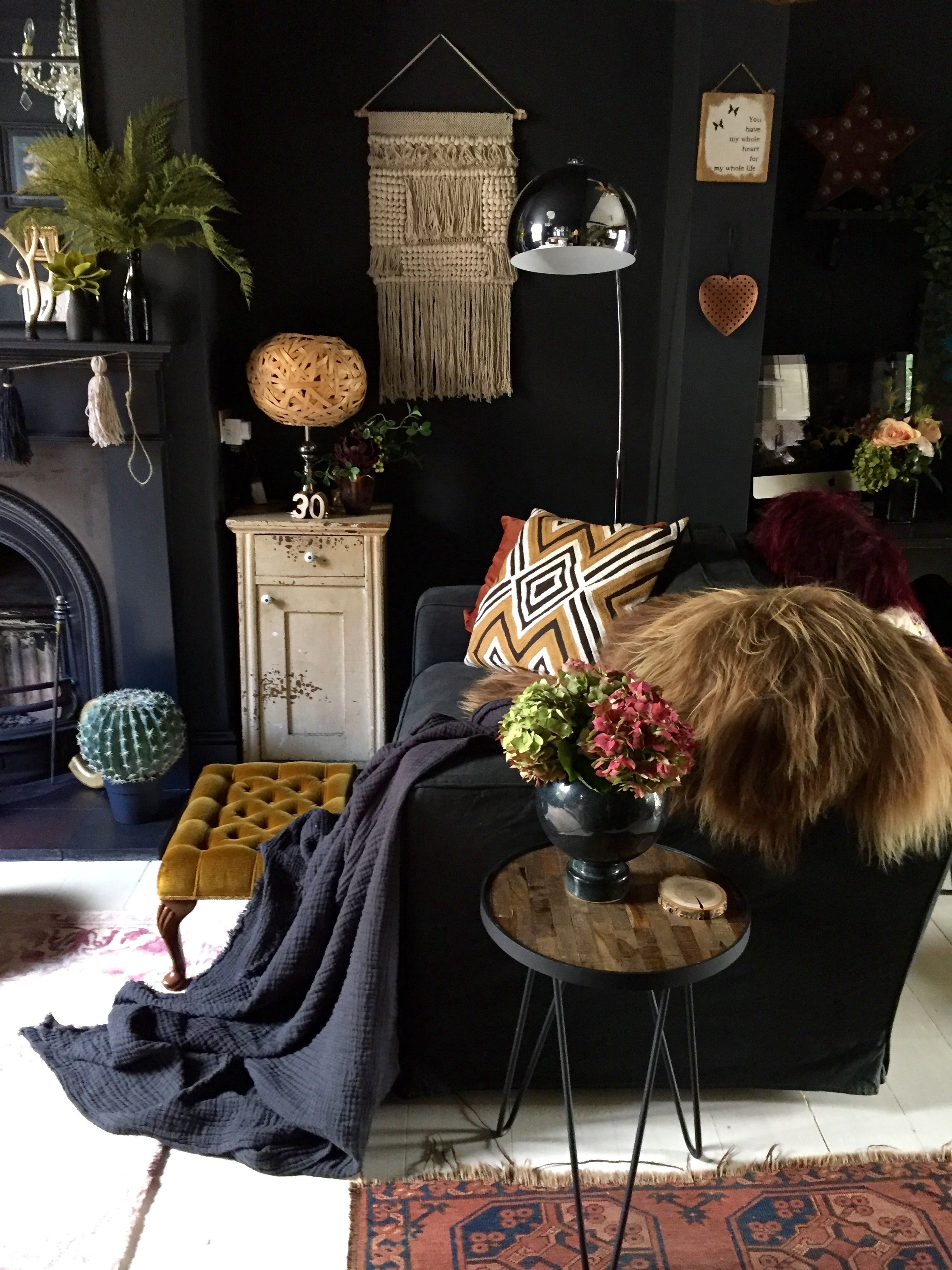 A Living Room W Dark Bohemian Vibe Elements 1 Eclectic