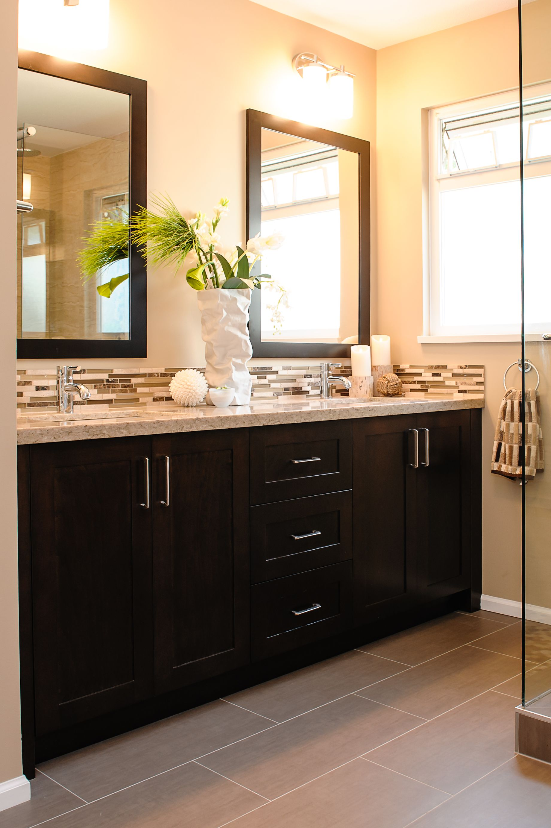 Here S What The 12x24 Gray Tile Would Look Like In A Bathroom With Darker Cabinets Really Balances Room