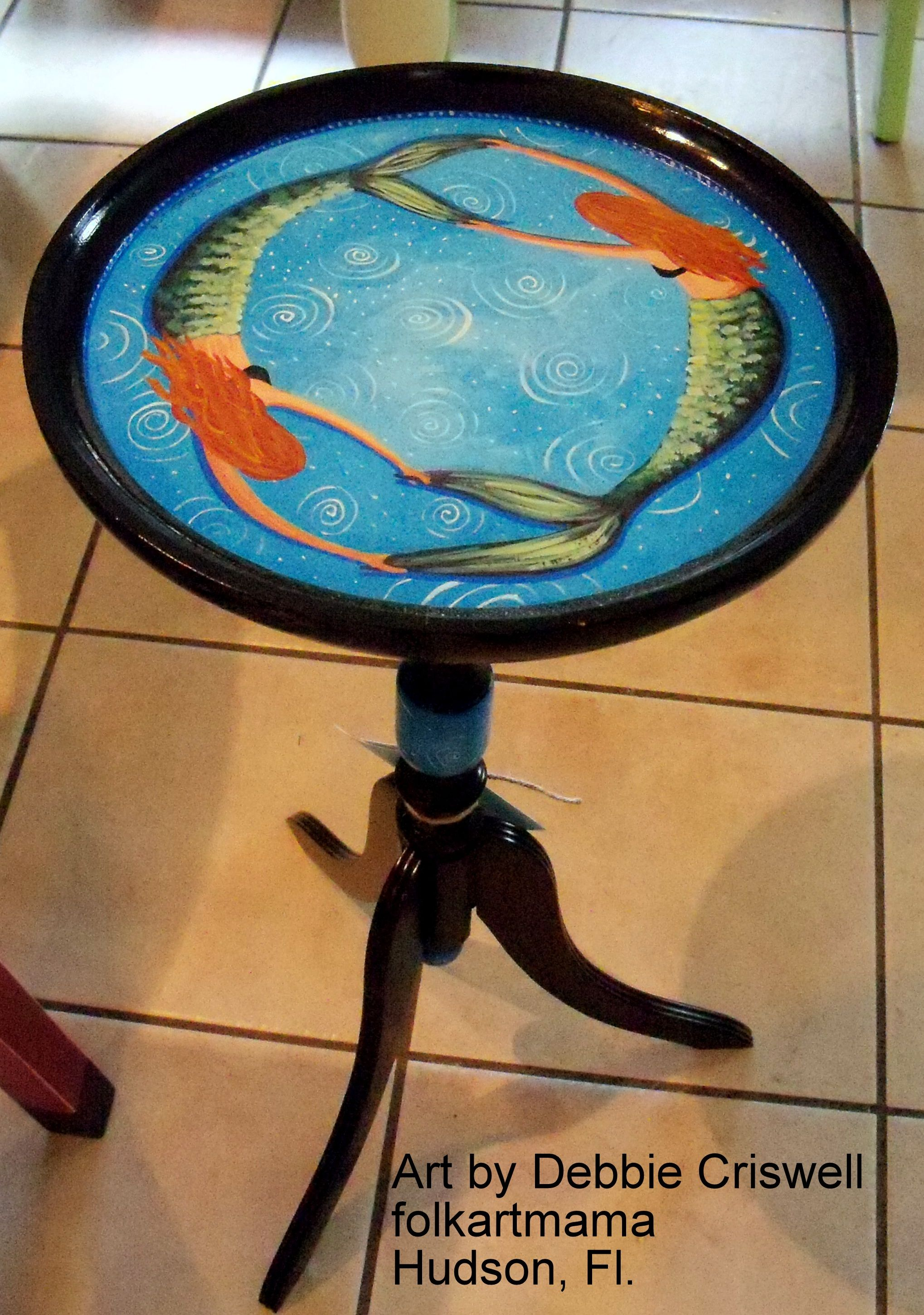 Hand painted by artist mermaid table plant stand Keywords