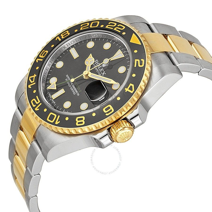 Rolex gmtmaster ii black dial stainless steel and kt yellow gold