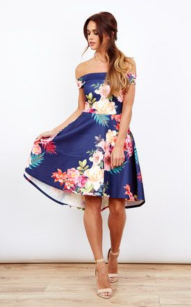 Navy Floral Print Off The Shoulder Skater Dress Product photo ... b9b258e7b