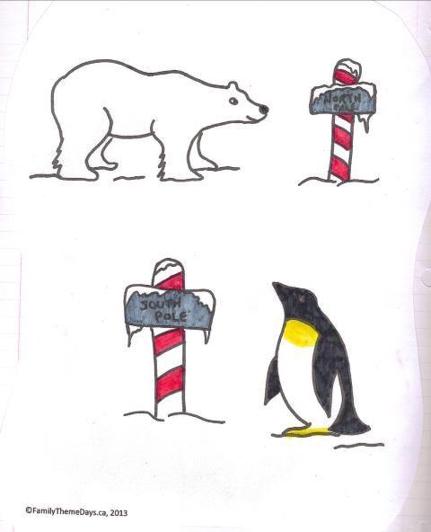Printable polar coloring page of penguin and polar bear