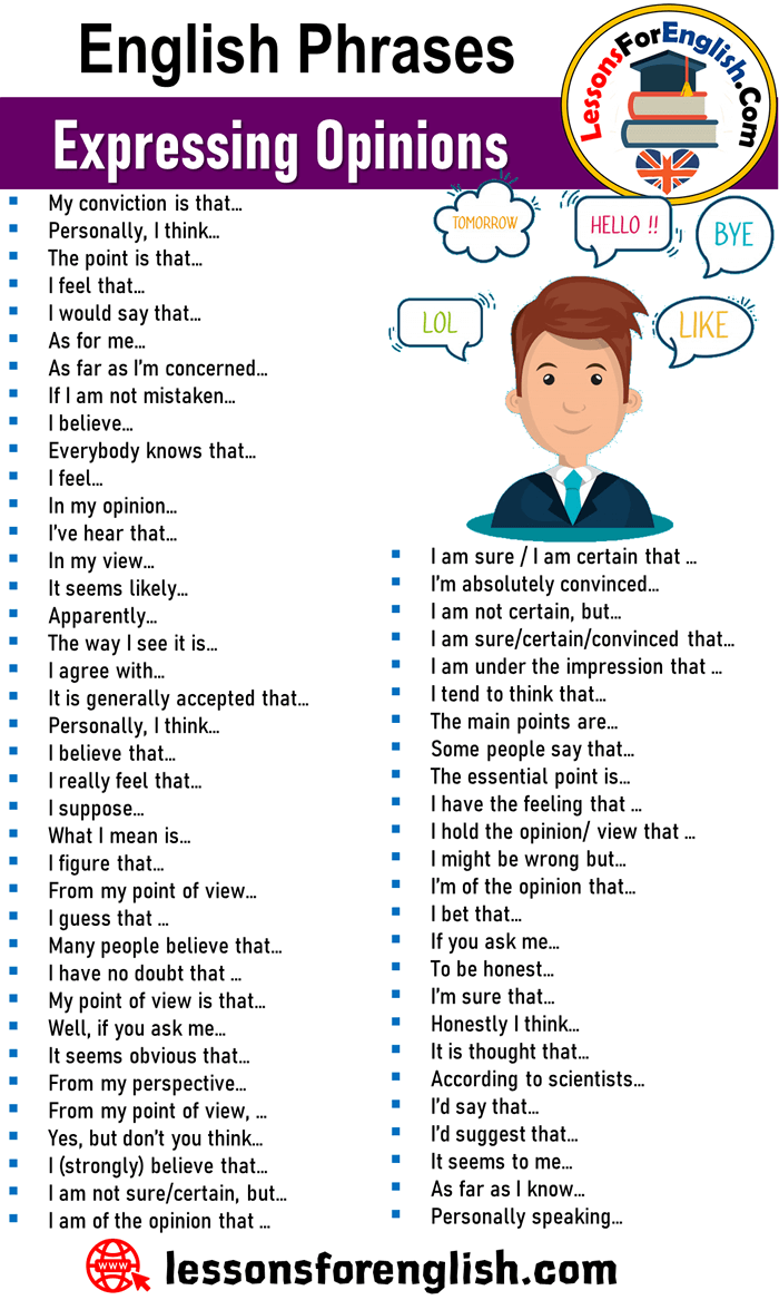 English Phrases Expressing Opinions I Am Sure I Am Certain That I M Absolutely Convinced English Writing Skills English Phrases English Vocabulary Words