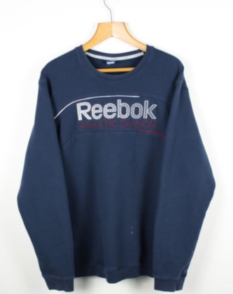 4bb6eeeac FOR SALE: Vintage REEBOK Navy Blue Big Logo Sweatshirt Jumper | Retro  Classic Sport | XXL