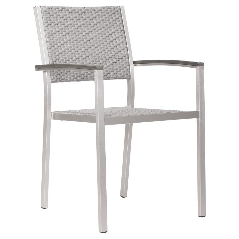 Contemporary 2pk Brushed Aluminum Stackable Dining Arm Chair - ZM Home