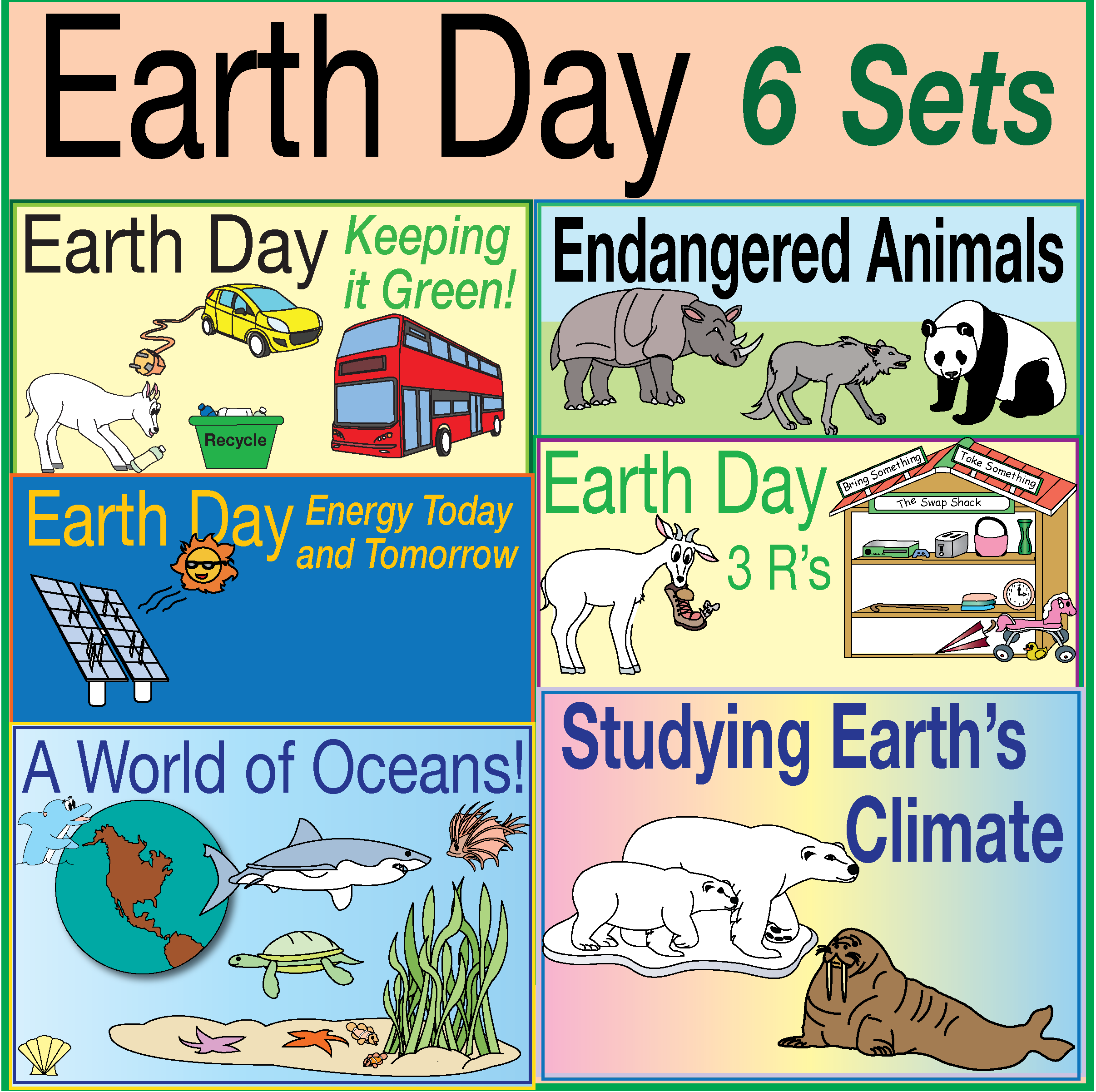 Earth Day 6 Puzzle Set Lively Activities Critical