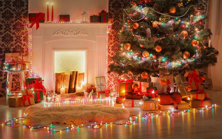 Weihnachtsbilder Kamin.Herunterladen Hintergrundbild Weihnachtsbaum Kamin Abend Neues