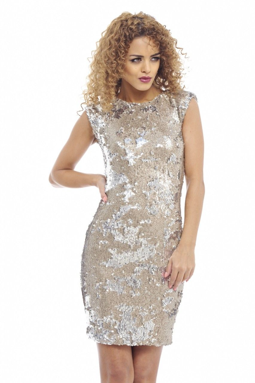 63a52e34d3e Paris Gold Sequin Bodycon Dress
