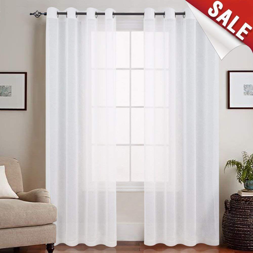 Amazon.com: Sheer Curtains White 84 inch Living Room Window ...