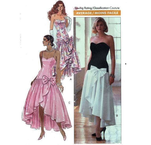 80s Prom Dress Sewing Pattern Strapless Gown Asymmetric Skirt with ...