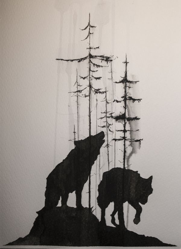 42970f9c507fd Main Part, Wolf #3 replaces second wolf. Trees in a smoke silhouette style