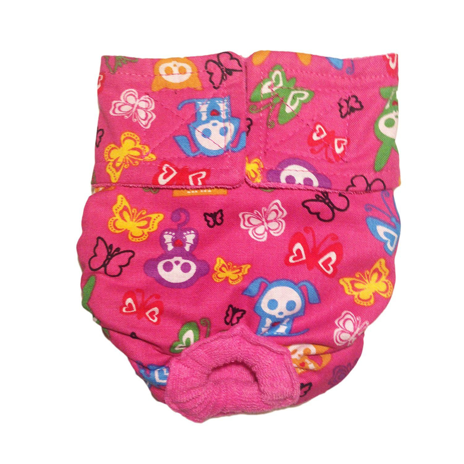 Cat diapers made in usa skeleton figures on pink