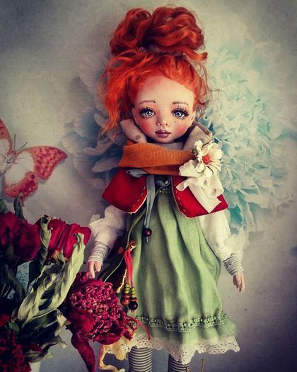 Polymer clay doll / Коллекционные куклы ручной работы. Кукла.. Юлия Ильина. Интернет-магазин Ярмарка Мастеров. Авторская ручная работа, лён