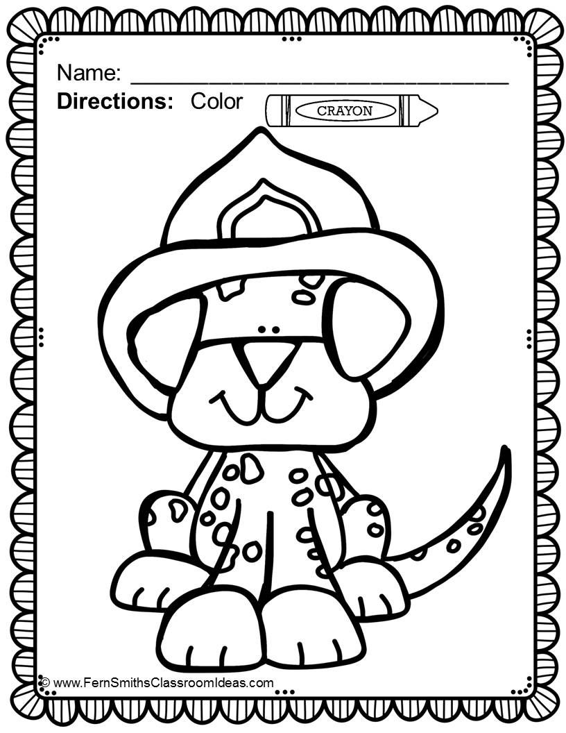Free Fire Station Dog Coloring Printable In The Preview Download Prevention And Safety Fun Color For Pages Terrific