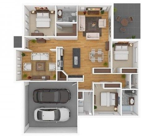 Plano de casas tres habitaciones plantas pinterest - Casas amuebladas modernas ...