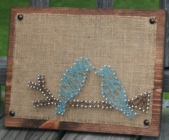 Birds Burlap and String art by BandTEndlessCrafts on Etsy, $35.00