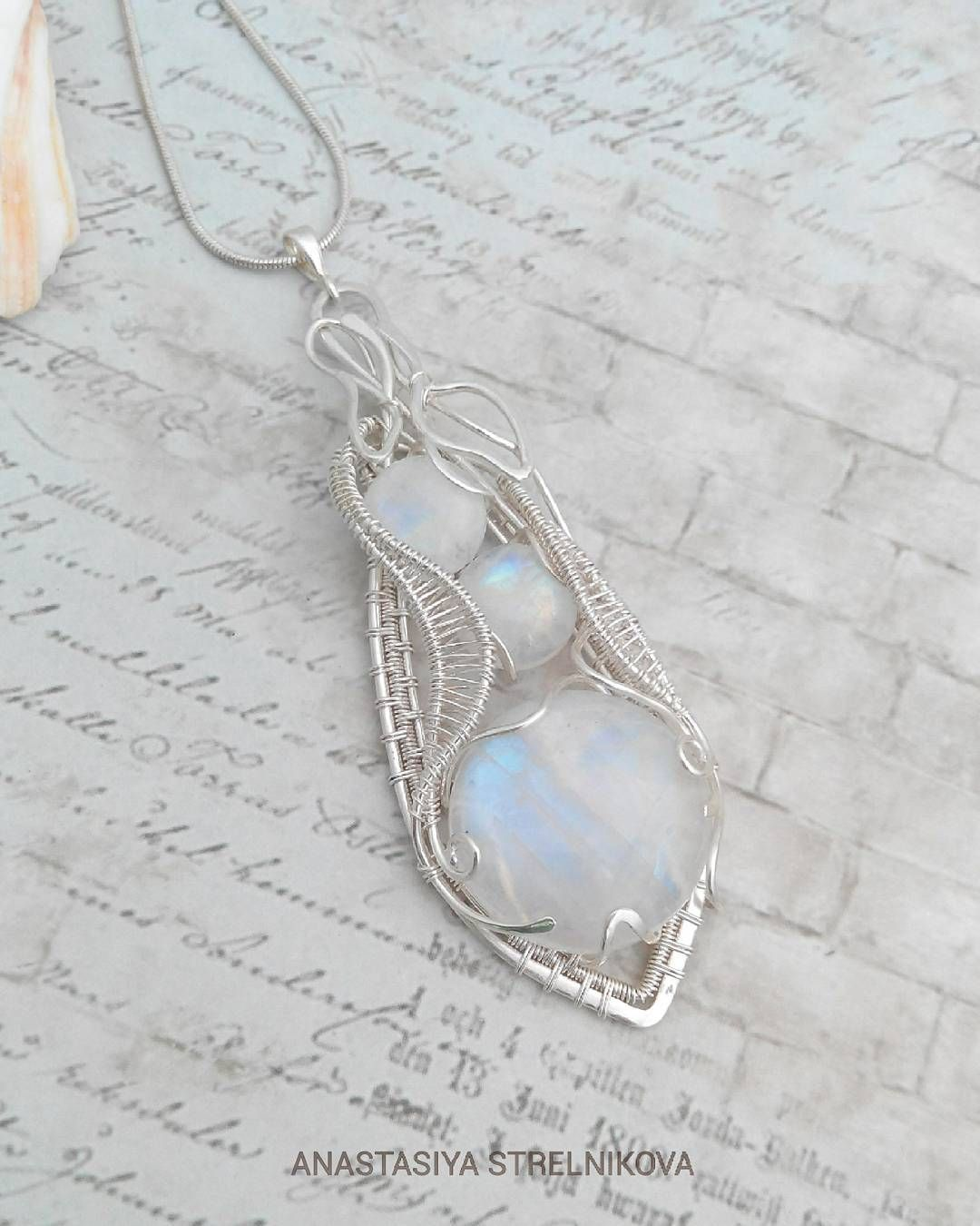 Silver wire wrapped pendant with moonstone #лунныйкамень #кулон ...