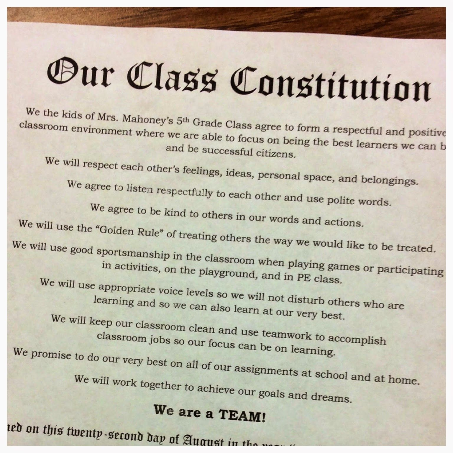 We The Kids Creating Class Constitutions