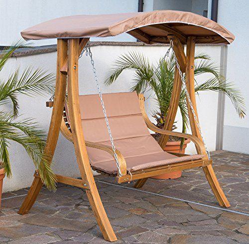 Amazon De Design Hollywoodschaukel Gartenschaukel Hollywoodliege Doppelliege Aus Holz Larche Mit Dach Mo Patio Swing Canopy Hanging Furniture Garden Furniture