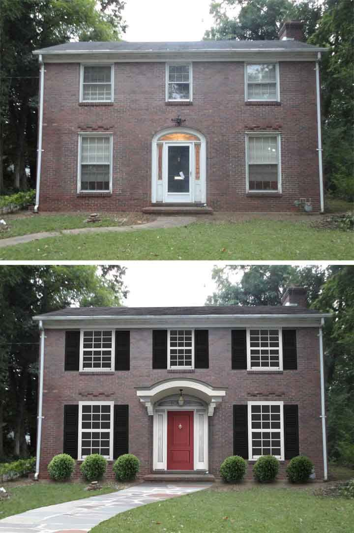 Adding A Better Door Portico And Shutters Really Increased The Curb Appeal Of This Colonial