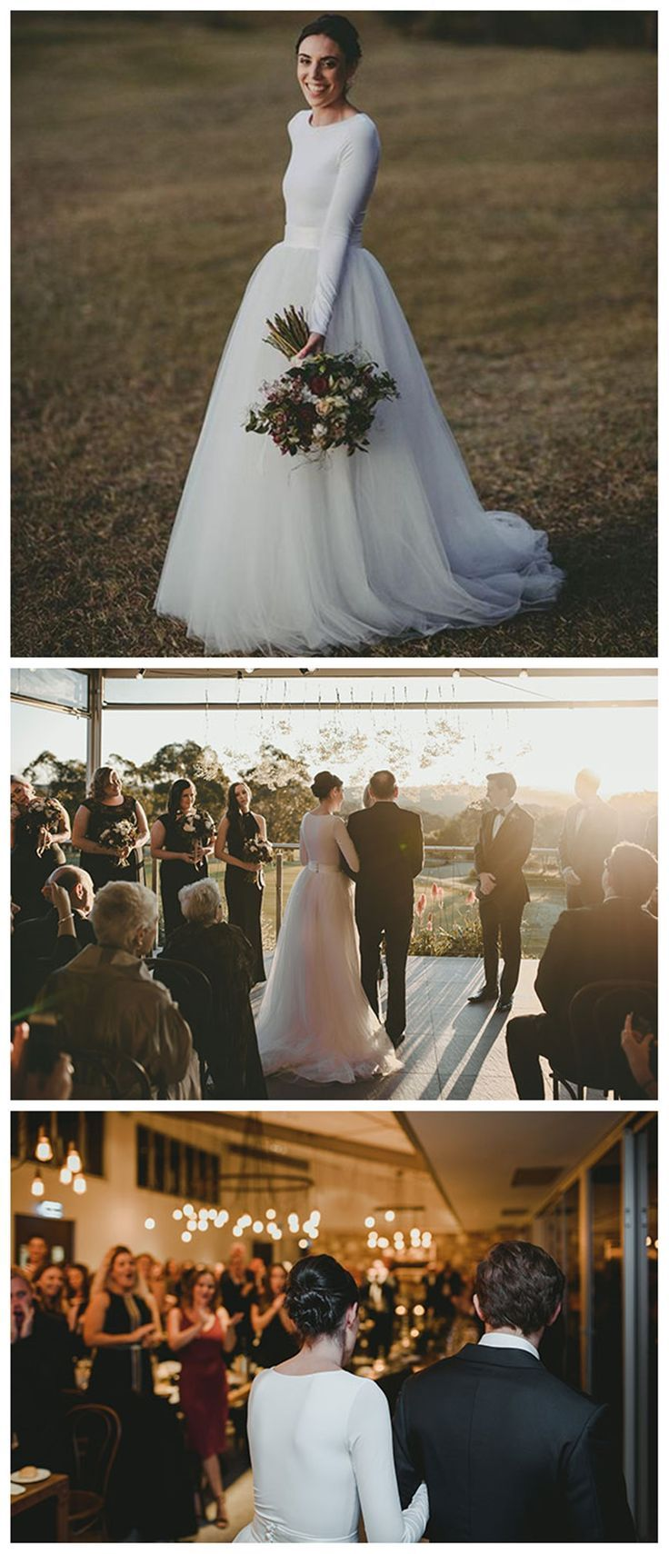 Simple white long sleeves cheap custom make long wedding dresses