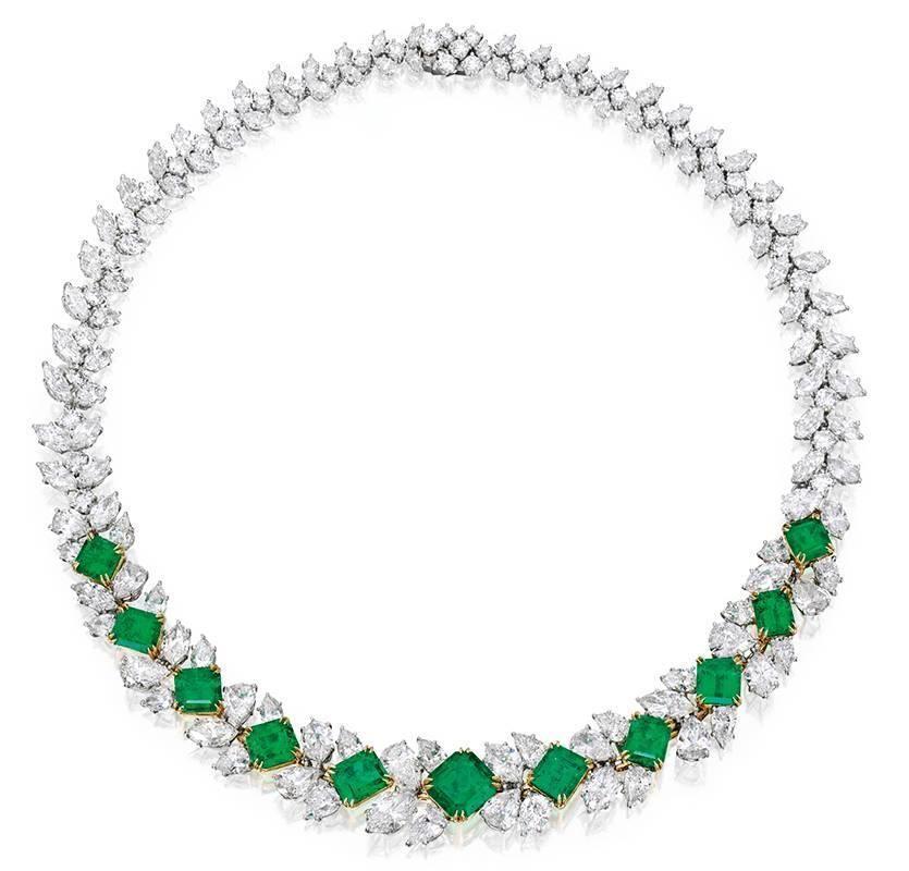 Harry Winston Emerald Diamond gold platinum Necklace image 2