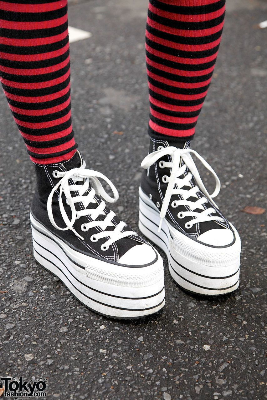 2fa107df3e04 Striped socks Nadia Harajuku platform Converse on the street in Tokyo.