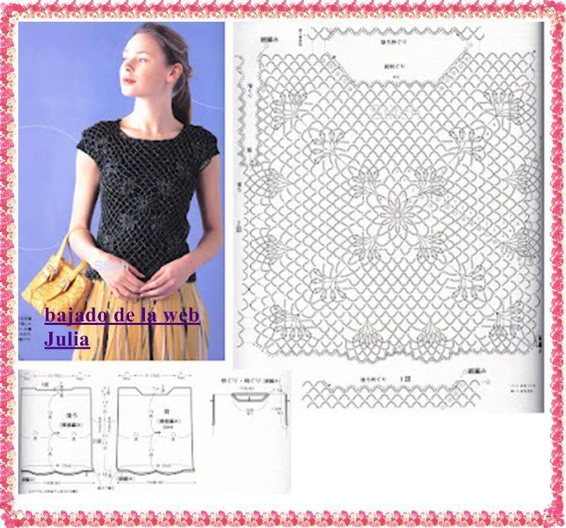 Vistoso Blusa Patrones De Crochet Libre Inspiración - Manta de Tejer ...